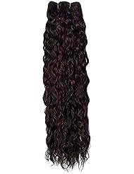 Sans chear vague trame Extension de cheveux humains avec de mélange tissage, Nombre P1B/99J, Off Noir/Bordeaux...