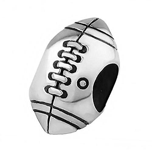 Rugby/American Football Sterling Silber zum Aufschieben Charm Bead–Tolles Detail–passt für europäische Charm-Armbänder