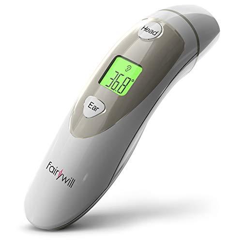 Fieberthermometer Stirnthermometer Ohrthermometer Infrarot thermometer mit Fieberwarnung 3 IN 1 Thermometer Professional für Babys Kinder Erwachsene und Kids 2 Modi 1 Sek. Messzeit von Fairywill
