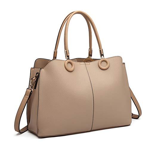 Miss Lulu Neutral Farbe Handtasche Damenmode Umhängetasche Pu Leder Top Griff Tasche mit Ring Detail (beige)