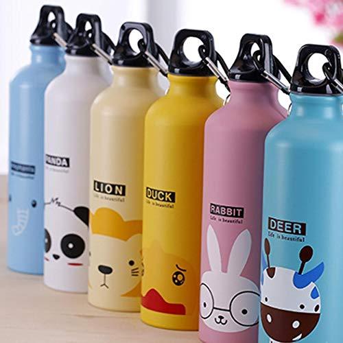 Wekold Nette Wasserflasche für Frauen und Kinder Camping Tragbare Sportflasche - 500ml Umweltfreundliche unzerbrechliche Aluminiumflasche für Reise Tee Büro (Tee-flasche)