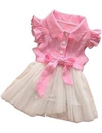 Koly Dril de algodón del empalme Vestido de tul fiesta princesa de los niños de 0-2 años bebé niñas