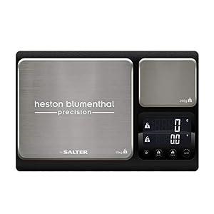 Heston Blumenthal digitale Küchenwaage mit Doppelfunktion, 2 Plattformen, hohe 10kg/1g Kapazität & Präzisionsplattform mit 200g/0,1g, metrische und imperiale Einheiten, Zuwiegefunktion, Aquatronic