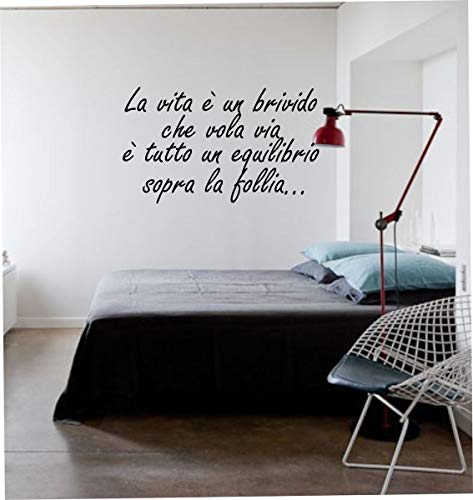 Wall Stickers Adesivo murale Frase La Vita è Un brivido Che vola Via (94cm x 60cm) - Adesivi murali Decorazioni Interni by tshirteria