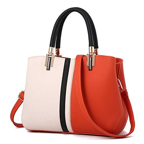 Damenmode Kontrastfarbe Große Kapazität Handtasche Freizeit Getäfelten Frauen Umhängetasche Handtasche Feminina Orange 26 * 22 *   12