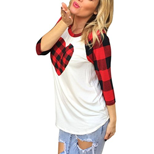 Damen Bluse Hffan Frauen Reizvolle Valentinstag Geschenk Plaid 3/4 Ärmel Sweatshirt Pullover Vintage Klassisch Kariertes Freizeit Blusen Slim Lang Button T-Shirt Tops Sweatshirt (Rot, S) (Button-up-shirt Gestreifte)