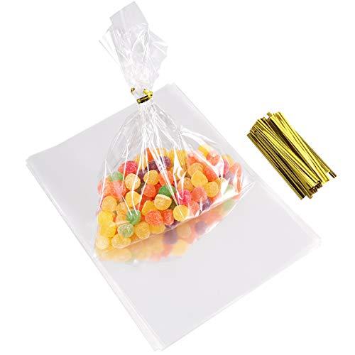 OUNONA 100 Stücke Klar Cellophanbeutel Tasche mit Twist Krawatten für Hochzeit Geschenk Süßigkeiten Buffet Party Supply (Süßigkeiten Für Ein Süßigkeiten-buffet)
