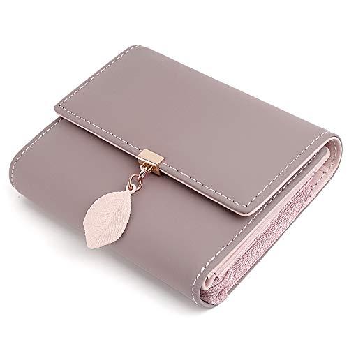 Geldbörse Damen Kleine Geldbeutel Damen UTO Blatt Anhänger PU Leder Brieftasche Organizer Mädchen Reißverschluss Pale Mauve2