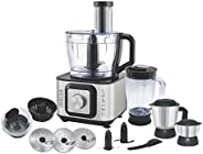 Inalsa Food Processor INOX 1000-Watt With Blender Jar / 304 Grade SS Dry Grinding / Chutney Jar / 12 Accessori
