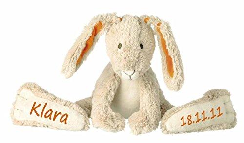 Stofftier Hase mit großen Füßchen mit Namen und Geburtsdatum personalisiert Geschenk beige orange 42cm