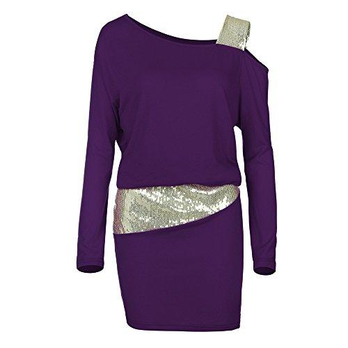 JiaMeng Maglioni Donna Pizzo Maglione Maglia Maniche Lunghe Vestito Corto Elegante Casual Moda Pullover Vestiti Donna (Viola,M)