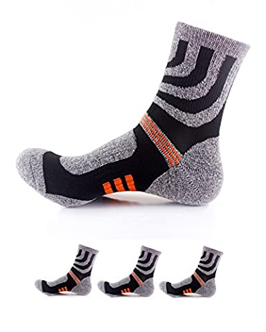 Waymoda 3 Pairs Adults Crew Socks- Outdoor Running Hiking Trekking Athletic Sports Socken, Quick Drying, Polyester comfy Elastic Non Slip buffer Liner Cushioned, Unisex Mens Womens UK 6-10/EUR (Edwardian Kostüme Uk)