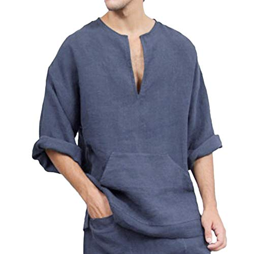 UFACE Herren Sommer T-Shirt Baumwolle Leinen Thai Hippie Hemd V-Ausschnitt Strand Yoga Top Bluse Hemd Weste Sweatshirt Baumwollshirt...