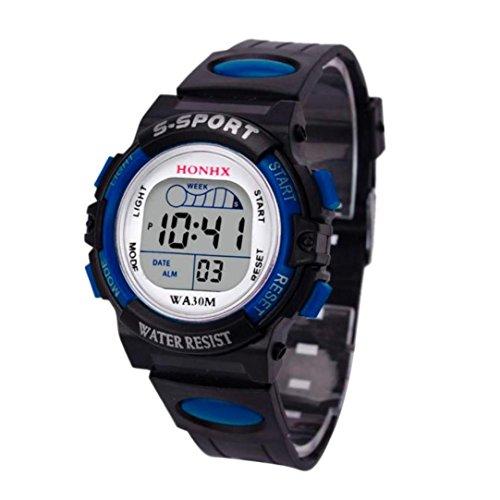Uhren für Männer, Winkey Wasserdicht Kinder Jungen Digital LED Sport Armbanduhr Alarm Datum Armbanduhr Geschenk für Kinder blau