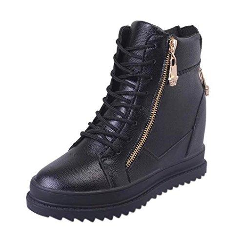 FNKDOR Damen Stiefeletten mit Unsichtbarer Absatz Wedges Increase Höhe Schuhe Keilabsatz Boots(EU:37 (CN:38),Schwarz)
