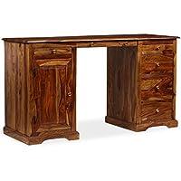 Festnight Schreibtisch Arbeitstisch aus Massives Sheesham-Holz Tisch Sch/ülertisch mit 4 Schubladen 115 x 50 x 76 cm