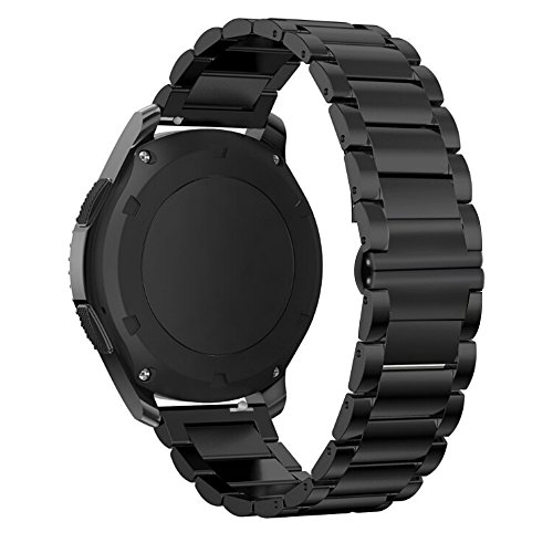 Gear S3 Frontier Bracelet Métal, iBazal Gear S3 Classic Bracelet 22mm Watch Band Acier Inoxydable Band pour Samsung Gear S3 Frontier / Classic SM-R760 [Style Classique] - Boucle Papillon Noir