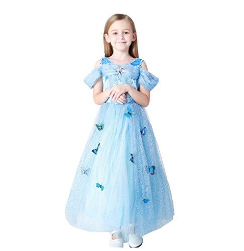 (Mädchen Kleid Prinzessin Kleid Partykleid Blumenmädchen Pailletten glänzend Kleider Kostüme 120CM)