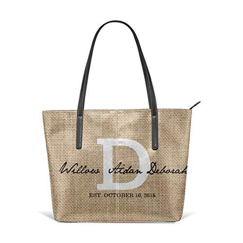 PecoStar Handtasche für Damen, rustikale Jute, weißes Monogramm D PU Leder, große Kapazität, klassische Damen Handtaschen Schultertaschen für Arbeit und Reisen -