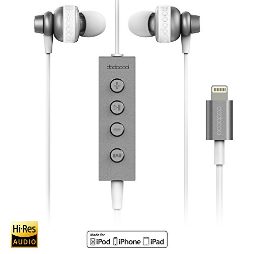 dodocool Auriculares Lightning Hi-Res MFI Certificado In-Ear Audio de Alta Resolución 24 bits Auriculares con Mic y Control Remoto para iPhone 7 / 7plus / 6s /6, iPad, iPod Gris