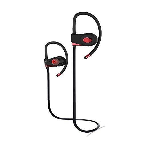 Bluetooth-Kopfhörer Sport, ANFOR verbesserte Wireless-Sport-Kopfhörer mit Over-Ear-Ohrbügel, Sweatproof Kopfhörer für iPhone, Huawei, Samsung, etc. (Bluetooth 4.1, CSR Chip, CVC6.0 Rauschunterdrückung) (Schwarz - rot) Die Schwarzen Tasten Mp3