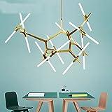 Industrielle Kronleuchter Moderne Metall Acryl Zweig Pendelleuchte Deckenleuchten für Wohnzimmer Esszimmer Beleuchtung (20 Lichter Gold)