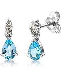Miore Ohrringe Damen, Schmuck weißgold, Ohrringe mit tropfenförmige Blau Topas Edelstein und Diamant Brillanten 9 Karat / 375 Gold