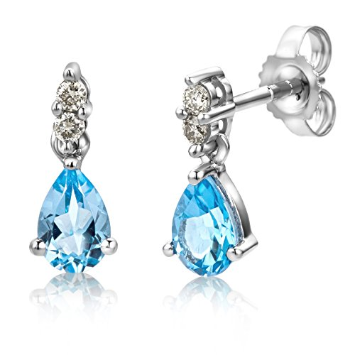 Miore Orecchini Donna  Topazio Blu con Diamanti taglio Brillante Oro Bianco 9 Kt / 375