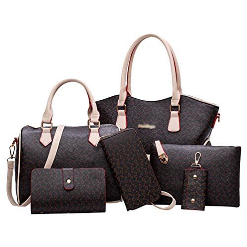 Kairuun Damen Große Kapazität Sechs-Teilige Handtasche Einfach Freizeit Sommer Umhängetasche Handtasche Brieftasche Schlüsselfall Einkaufstasche Kupplung Tasche Kit 4#Brown