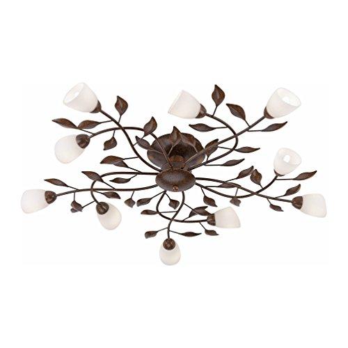 Landhaus-Leuchte, rustikale Astleuchte mit Blättern Ranken, Fassung G9 LED fähig, Rost-Optik (Deckenleuchte) - Blatt-akzent-lampe