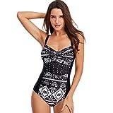 QINJLI Einteiligen Badeanzug, Damen konservative rückenfreie Sport-Print Sling Bikini Schwimmen Vacatio