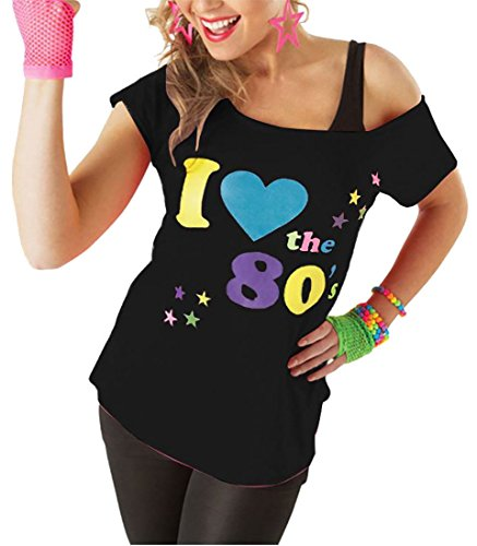 Women's Black I Love the 80s Off Shoulder Tee. Sizes 8 to 18