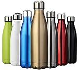 ZUSERIS Thermobecher Doppelwandige Trinkflasche Edelstahl Sportflasche Wasserflasche Camping Reisebecher Thermosflasche Haelt Getraenke 12 Stunden Kalt & 24 Heiß BPA Frei - (Gold, 750ml-25oz)