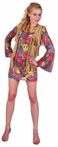 GCC Fashion Store Ladies Womens 1970s Woodstock Flower Girls Costume Hawaiian Fancy Dress (Fancy Flower Kostüme Dress)