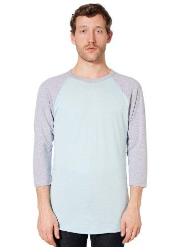 Preisvergleich Produktbild American Apparel Poly-Cotton 3 / 4 Sleeve Raglan Shirt - Light Blue / Heather Grey / L
