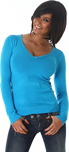 stretch-pullover-langarm-shirt-einfarbig-v-ausschnitt-turkis