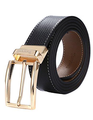Tonywell Herren Reversible Gürtel mit Nadelschnalle Echtleder Mode Gürtel (Eine Größe: 32