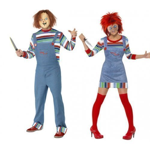 erren Chucky Puppe Film Paar Halloween Horror Kostüm Verkleidung Outfit - Mehrfarbig, Ladies UK 12-14 & Mens Medium, Mehrfarbig (Chucky Outfit)