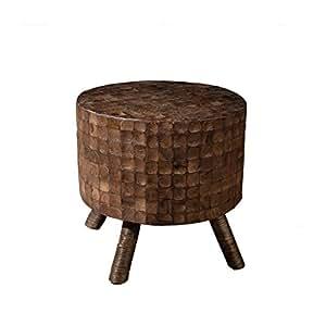 Tabouret rond en noix de coco de couleur café, 40 x 40 x 40 cm -PEGANE-
