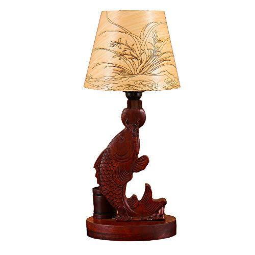 Huanghua Birne Mahagoni Karpfen Springen Drachen Tür Lampe Dekoration Wohnzimmer Studie Handwerk Massivholz Chinesische Klassische Tischlampe Weihnachtsgeschenk -
