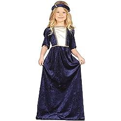Guirca Disfraz medieval con vestido y diadema, para niños de 5-6 años, color azul (85597)