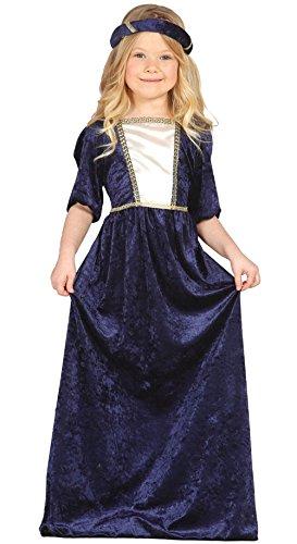 Guirca-Mittelalterliches Kostüm mit Kleid und Kopfband, für Kinder von 5-6Jahren, Blau (85597)