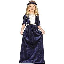 Guirca - Disfraz medieval con vestido y diadema, para niños de 5-6 años, color azul (85597)