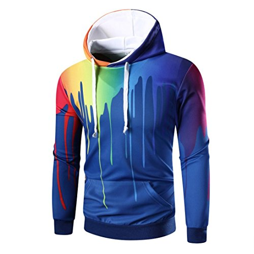 ITISME Herren Pullover Langarm Digital Print Hoodie Kapuzen-Sweatshirt Tops Mantel Outwear Camouflage Dunkelrot Elegant (Xl North Face Daunenjacke Womens)