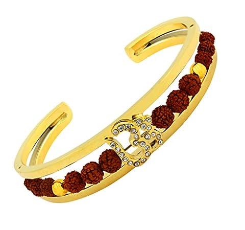 The Jewelbox Rudraksh CZ American Diamond Gold Plated Om Aum Cuff Traditional Ethnic Kada Bangle Bracelet For