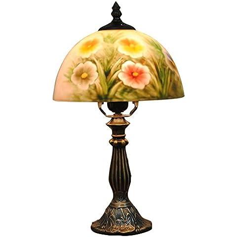 JUJUN E27 Rose lámpara de mesa Moderno estilo pastoral para el dormitorio Salón Decoración de cabecera Decoración Iluminación de pintura al óleo pintada a mano Flores Lámpara de escritorio de