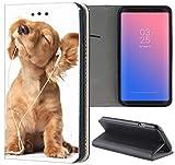 KAOne-Mobile Samsung Galaxy A20e A202F Hülle Motiv 1023 H& Welpe Handyhülle aus Kunst-Leder Flipcover Schutzhülle Smart Cover Handy Case Hülle für Samsung Galaxy A20e A202F