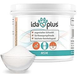 Ida Plus MSM Pulver für Hunde, Katzen, Pferde und Ponys - 150 g - Schwefel - Methylsulfonylmethan - Organischer Schwefel in Lebensmittelqualität für Bewegungsfreude - Reinheitsgrad von 99,9%