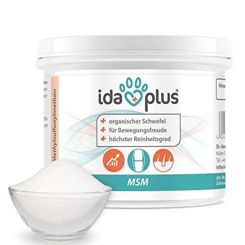 Ida Plus MSM Pulver für Hunde, Katzen, Pferde und Ponys – 150 g – Schwefel – Methylsulfonylmethan – Organischer Schwefel in Lebensmittelqualität für Bewegungsfreude – Reinheitsgrad von 99,9%