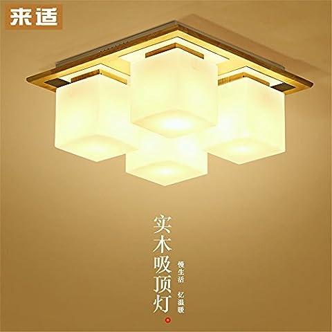Larsure Vintage Style moderne Lampe de plafond en bois, Lampes lampe de plafond lumières lumières sucre chambre salon conduit rectangulaire en bois,400*170mm